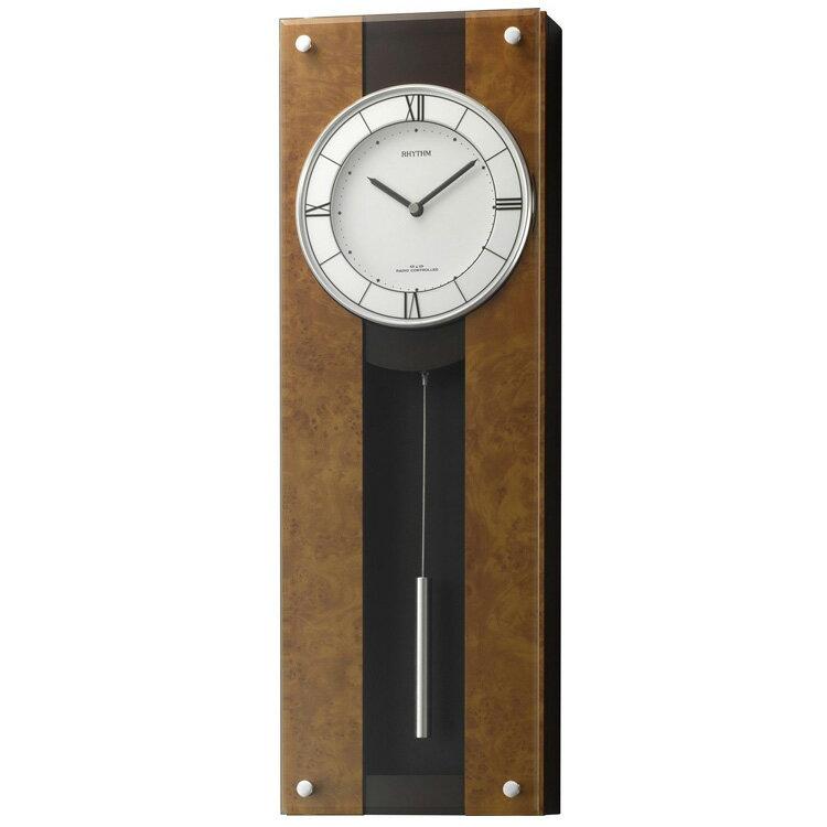 【送料無料】電波 振り子時計 リズム時計 モダンライフM01 4MXA01RH06【電波時計 掛時計 掛け時計 時計 壁掛け時計 おしゃれ 壁掛け電波時計 シンプル モダン 和モダン レトロ 木製 木 ラグジュアリー シチズン CITIZEN ウォールクロック 壁時計】
