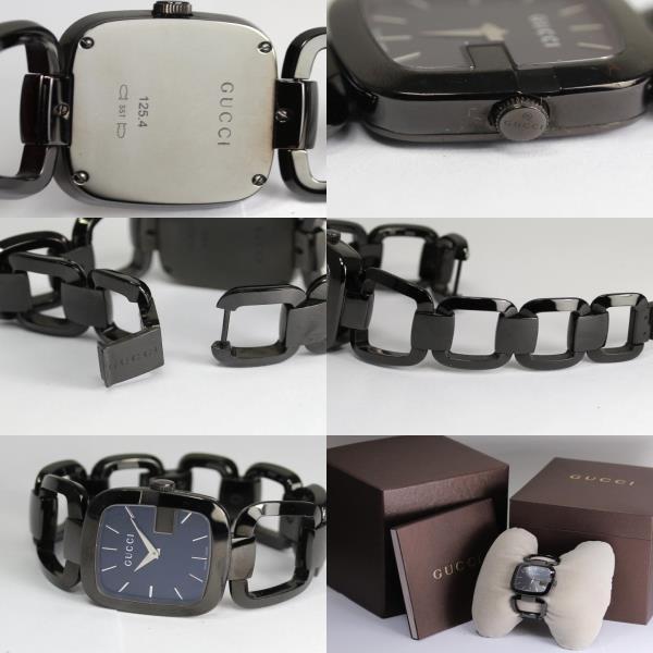 구찌 125.4 호흡 레드형 블랙 문자판 레이디스 손목시계 쿼츠상자・보증서