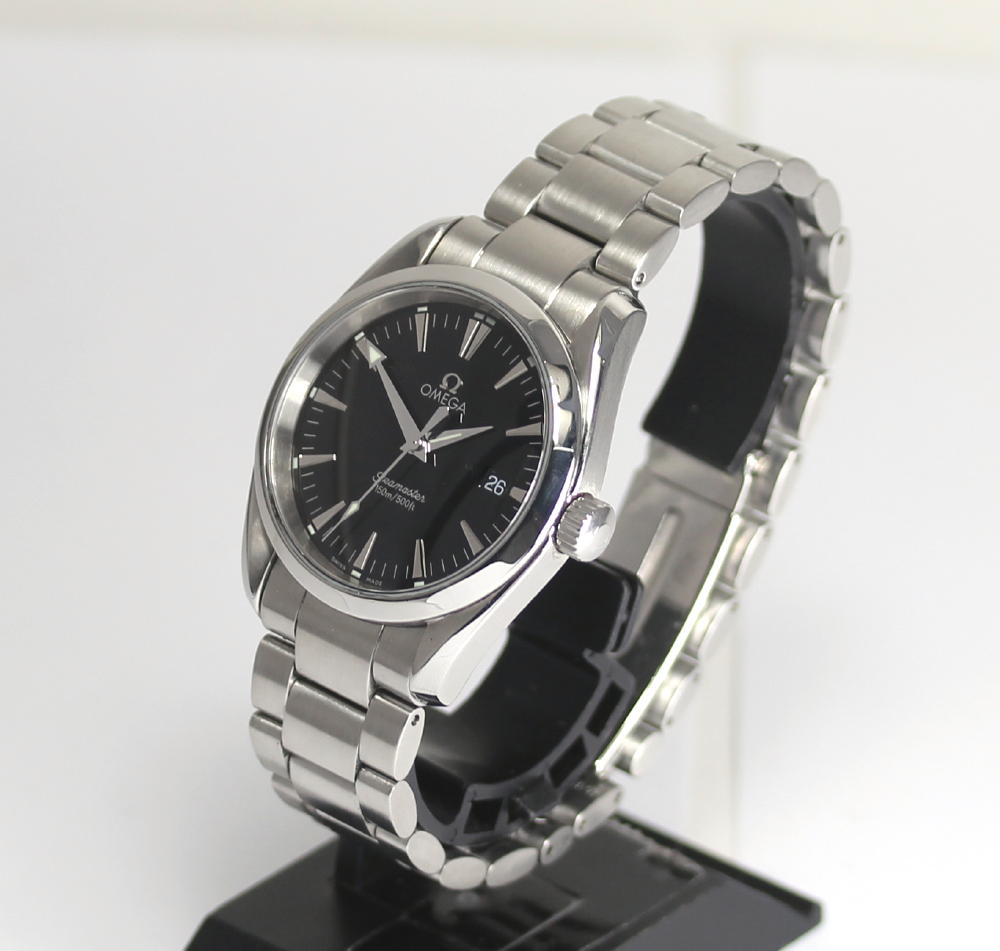 With omega Cima star aqua terra 2518.50 black clockface 150M waterproofing breath quartz Boys watch box, guarantee card, rest piece
