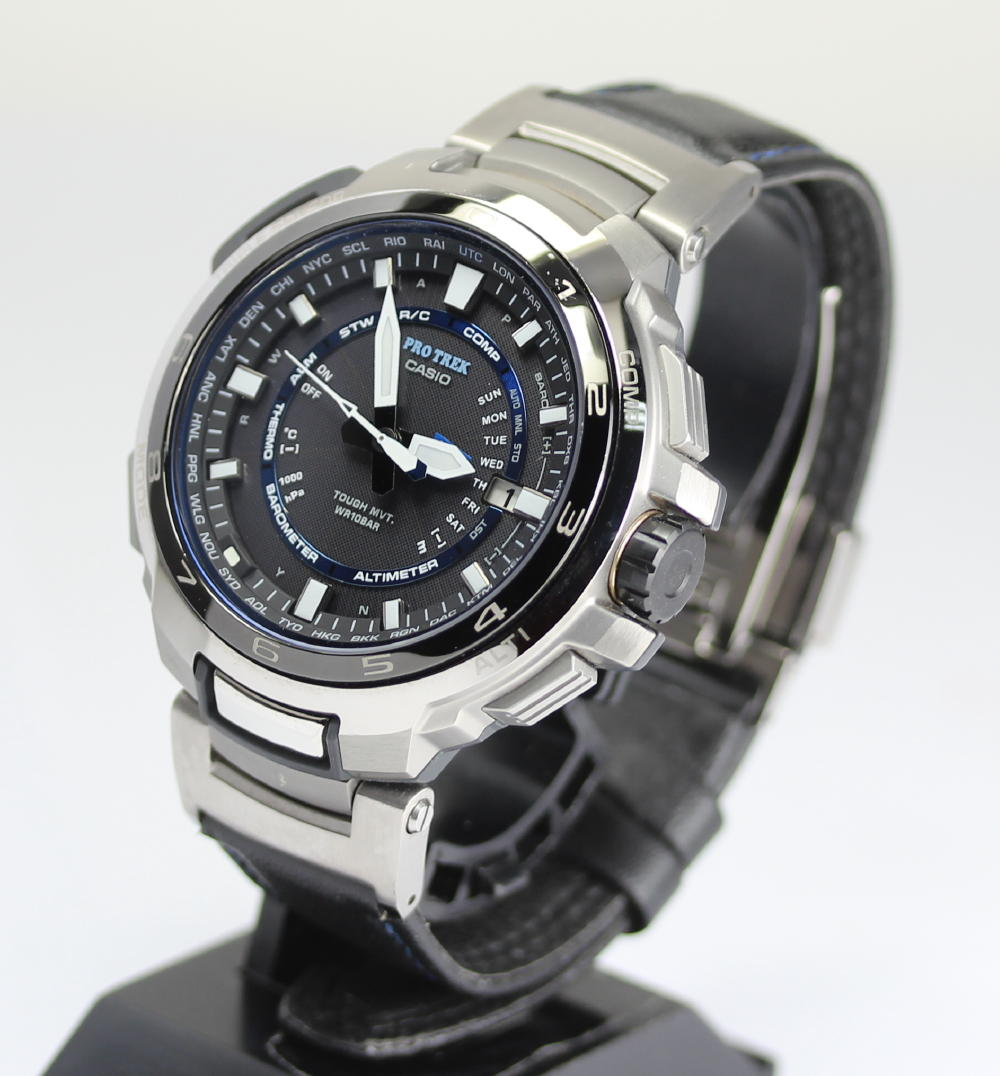 Closer beautiful article casio proto lec manaslu prx 7000l titanium multiband 6 solar for Protos watches