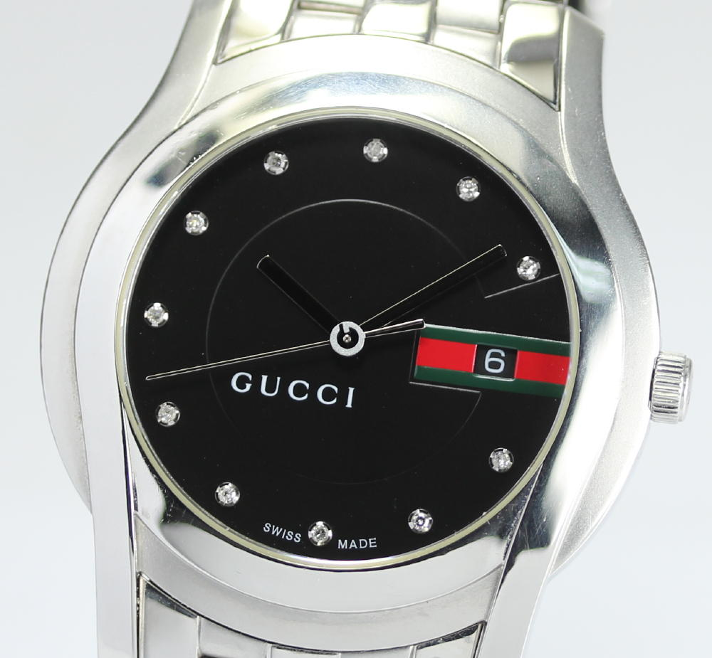 ac6dbf0a04c Men watch with Gucci 5500XL 11P diamond index black clockface quartz box