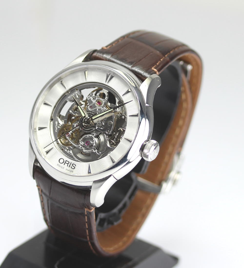 With cages Artelier art Rie skeleton 01 734 7591 4051-07 5 21 70FC leather belt self-winding watch men watch box, guarantee card