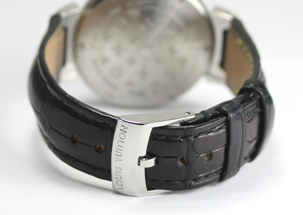 Louis Vuitton tambour Q1311 brown clockface leather belt Boys watch