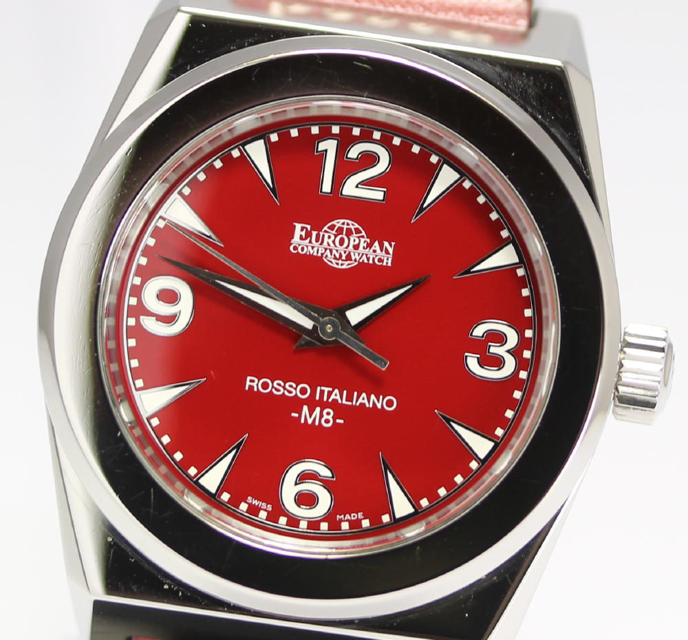 closer rakuten global market european watch company pm8st4051 european watch company pm8st4051 rosso italiano red letter edition mens watch box warranty certificate
