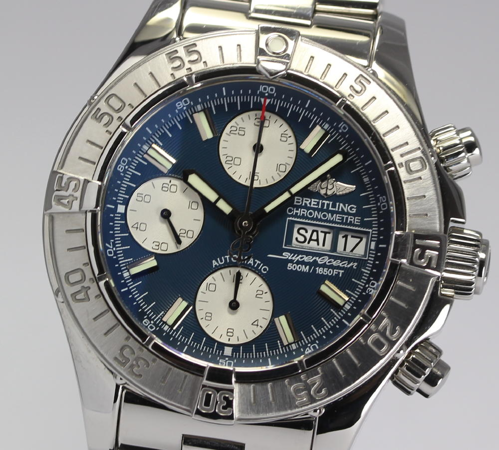 It is with blight ring supermarket ocean chronograph A13340 D date self-winding watch arm circumference approximately 19cm correspondence men's watch / box