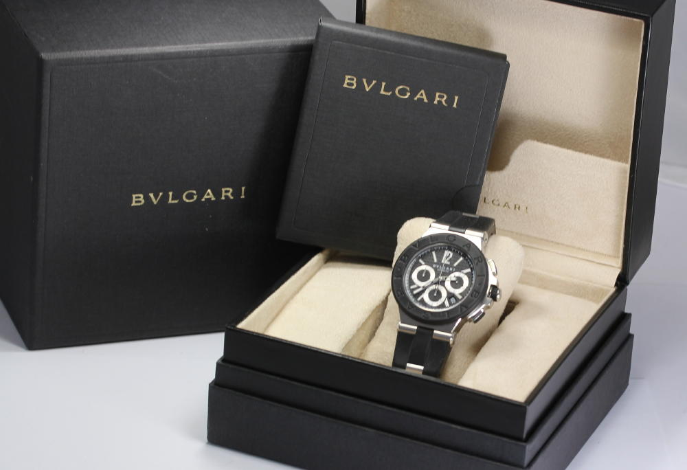 ☆It is with domestic regular ☆ Bulgari DG42 SV CH ディアゴノクロノグラフラバーベルト arm rotation self-winding watch men watch / box for approximately 20.5cm, a warranty