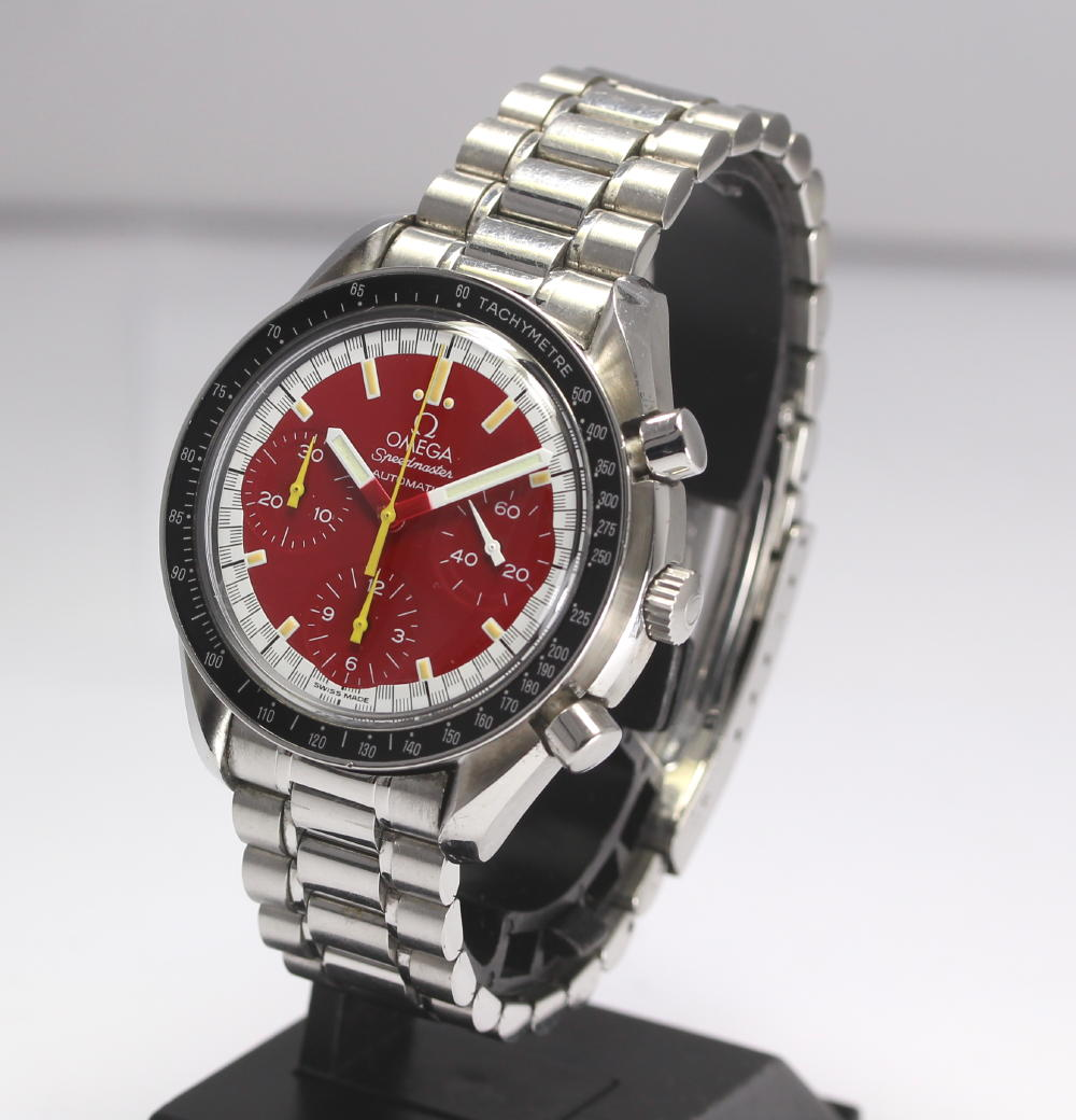Omega speed master Michael Schumacher 3510.61 red clockface self-winding watch SS breath men watch