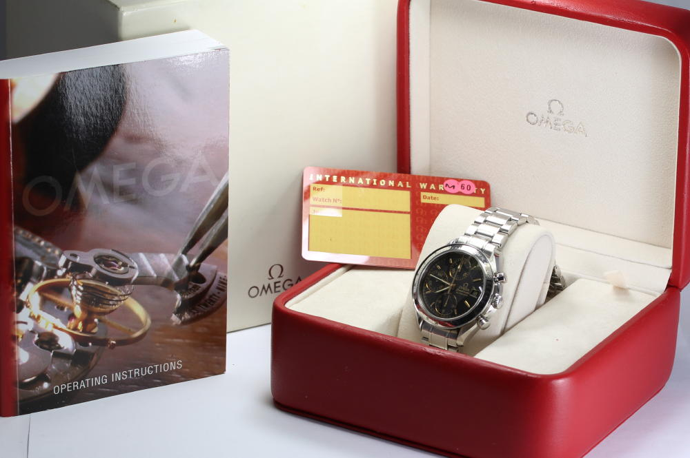 With omega speed master date Japan-limited model 3513.54 self-winding watch men watch box, guarantee card, rest piece