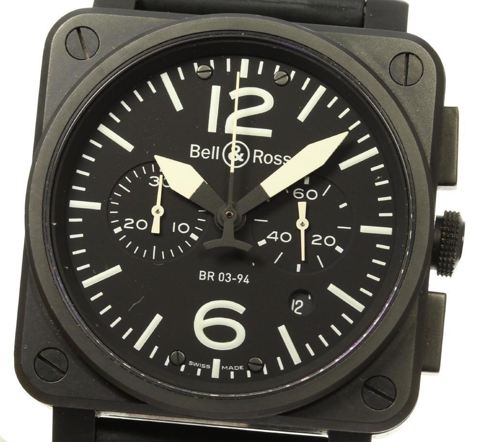 ※ブレスジャンク品【Bell&Ross】ベル&ロス ヘリテージ クロノグラフ BR03-94 自動巻き メンズ【中古】