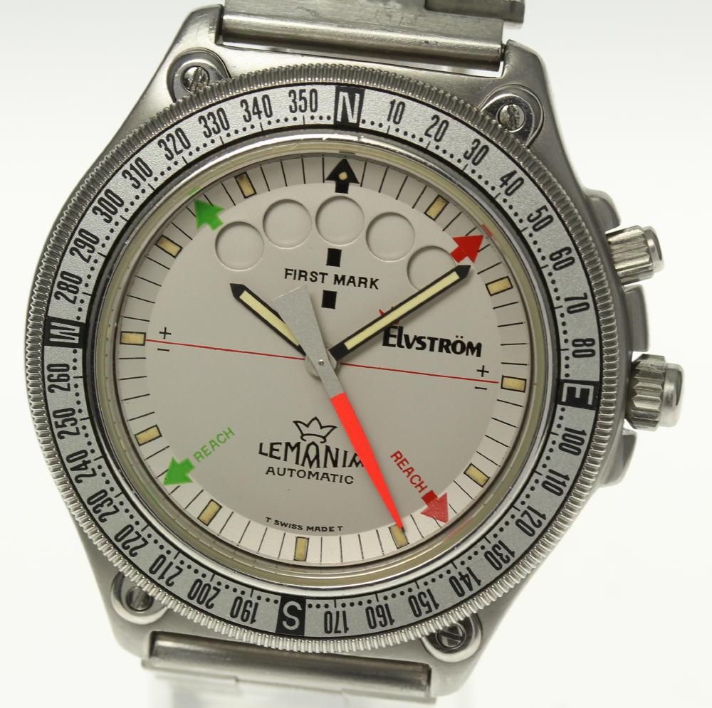 ブランド腕時計専門店CLOSER 15時までの決済で即日発送可能です 在庫数大幅増加中 早い者勝ち☆是非ご利用下さいませ 至高 ☆訳あり LEMANIA おトク レマニア レガッタ 中古 5400 Elvstrom メンズ クロノグラフ ワンプッシュ 自動巻き