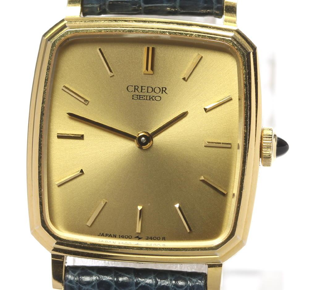 10%OFF ブランド腕時計専門店CLOSER 15時までの決済で即日発送可能です 在庫数大幅増加中 早い者勝ち☆是非ご利用下さいませ SEIKO セイコー クレドール レディース スクエア 1400-6930 クォーツ 中古 希少