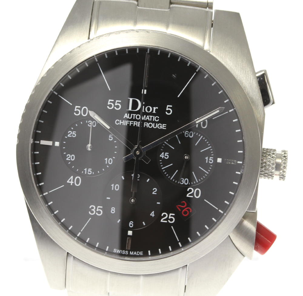 【Dior】ディオール シフルルージュ デイト クロノグラフ CD084610 自動巻き メンズ【ev05】