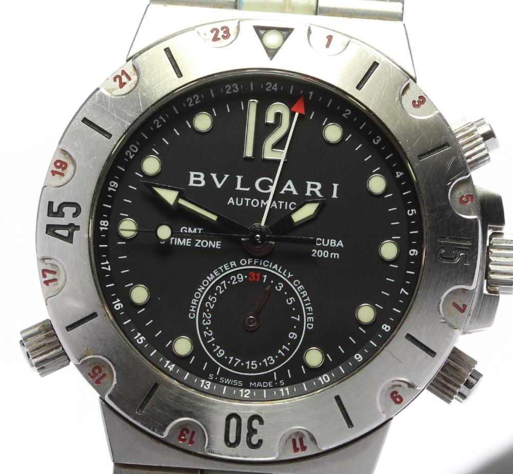 【BVLGARI】ブルガリ ディアゴノ スクーバ SD38S GMT 自動巻き メンズ【中古】