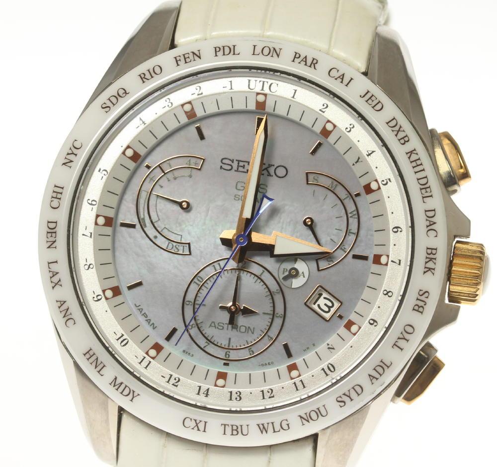 本物 (人気激安) ブランド腕時計専門店CLOSER 15時までの決済で即日発送可能です 在庫数大幅増加中 早い者勝ち☆是非ご利用下さいませ SEIKO セイコー アストロン 8X53-0AJ0-2 SBXB063 メンズ ソーラー電波 中古 デュアルタイム