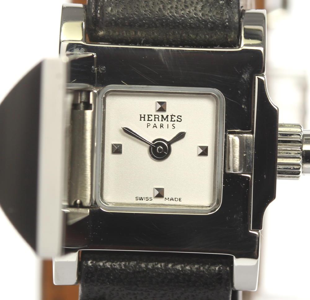箱保付き【HERMES】エルメス ミニメドール ドゥブルトゥール ME2.110 クォーツ レディース【中古】