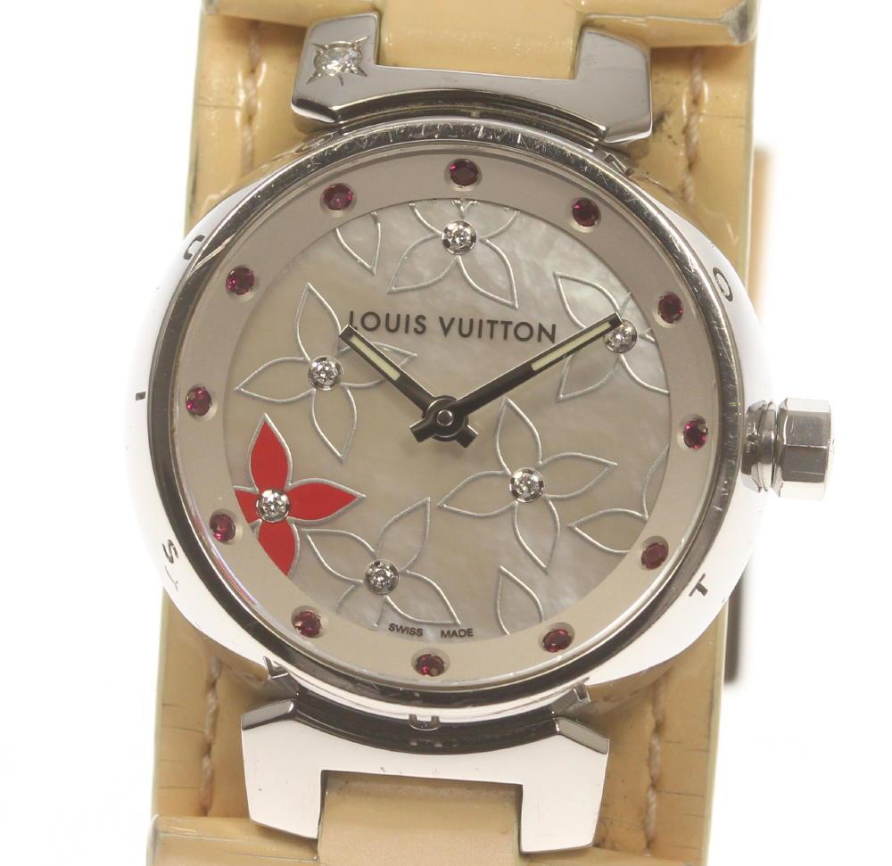 ブランド腕時計専門店CLOSER 15時までの決済で即日発送可能です 在庫数大幅増加中 授与 早い者勝ち☆是非ご利用下さいませ バースデー 記念日 ギフト 贈物 お勧め 通販 LOUIS VUITTON ルイ ヴィトン 保 タンブール レディース ラブリーラック クォーツ Q121J 中古 箱