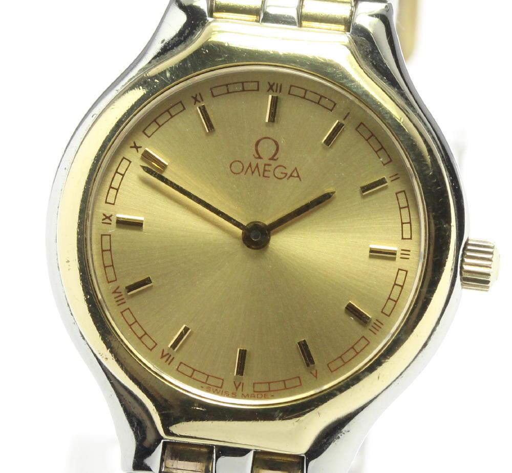 ブランド腕時計専門店CLOSER 15時までの決済で即日発送可能です 在庫数大幅増加中 ディスカウント 早い者勝ち☆是非ご利用下さいませ OMEGA オメガ レディース 純正革ベルト 中古 サービス YGベゼル クォーツ
