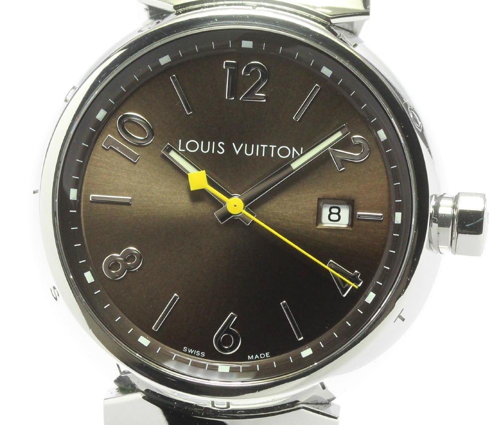 ブランド腕時計専門店CLOSER 15時までの決済で即日発送可能です 日本製 在庫数大幅増加中 早い者勝ち☆是非ご利用下さいませ LOUIS VUITTON ルイ クォーツ タンブール Q1111 新作販売 メンズ ヴィトン 中古