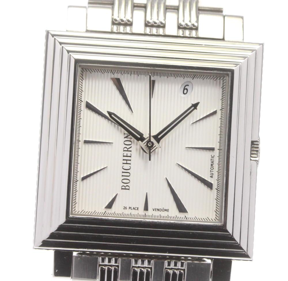 在庫一掃売り切りセール ブランド腕時計専門店CLOSER 15時までの決済で即日発送可能です 在庫数大幅増加中 早い者勝ち☆是非ご利用下さいませ Boucheron ブシュロン 自動巻き 中古 メンズ デイト 物品 キャレ
