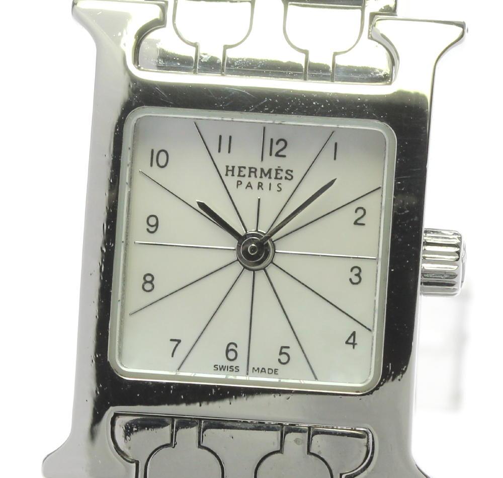 ブランド腕時計専門店CLOSER 15時までの決済で即日発送可能です 在庫数大幅増加中 早い者勝ち☆是非ご利用下さいませ HERMES エルメス Hウォッチ レディース ついに入荷 ミニ クォーツ HH1.110 中古 お買い得品 シェル