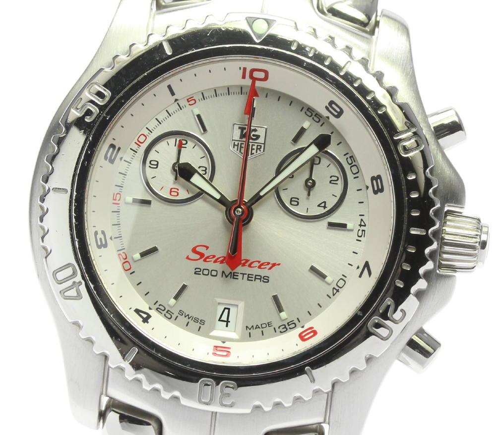 期間限定特価品 ブランド腕時計専門店CLOSER 15時までの決済で即日発送可能です 在庫数大幅増加中 早い者勝ち☆是非ご利用下さいませ ☆良品 TAG HEUER タグホイヤー メンズ シーレーサー 中古 クォーツ CT1114 リンク クロノグラフ ついに入荷