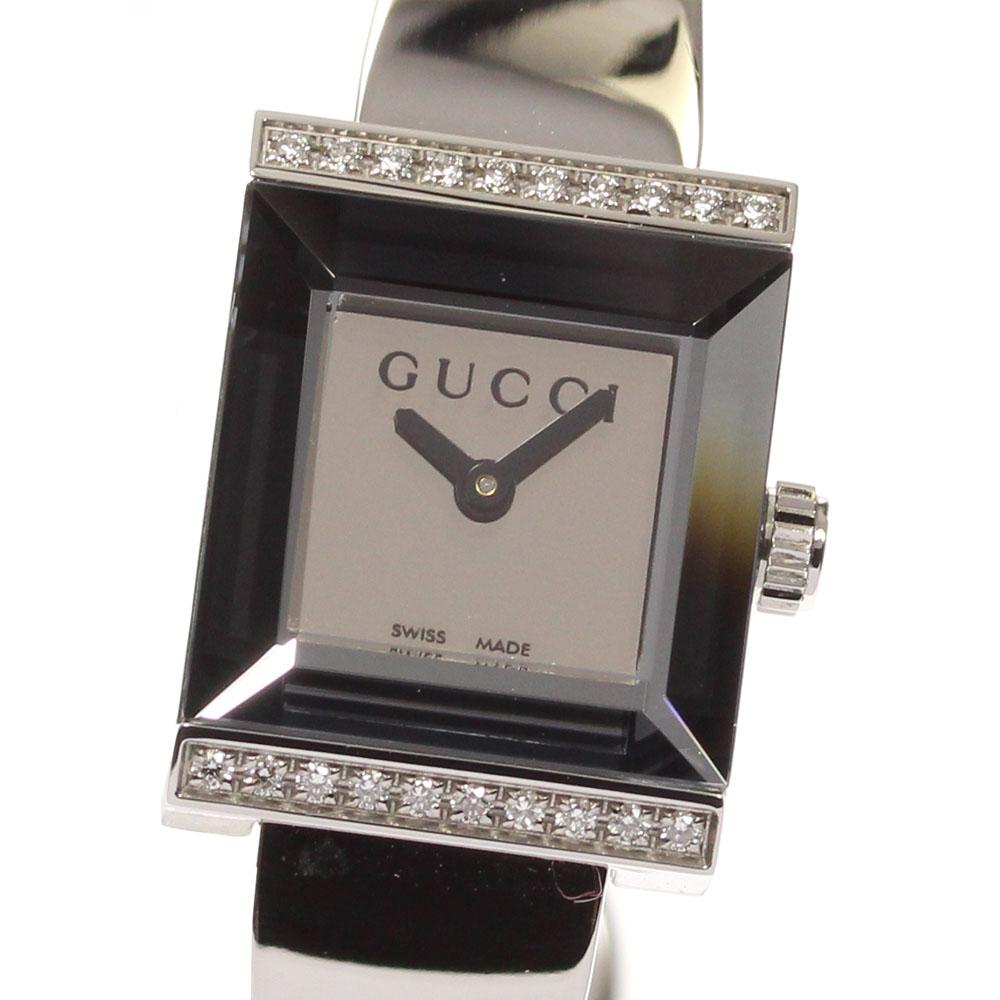 ファッション通販 ブランド腕時計専門店CLOSER 15時までの決済で即日発送可能です 在庫数大幅増加中 ●手数料無料!! 早い者勝ち☆是非ご利用下さいませ GUCCI グッチ Gフレーム ダイヤベゼル 128.5 レディース 中古 保 箱 YA128504 クォーツ