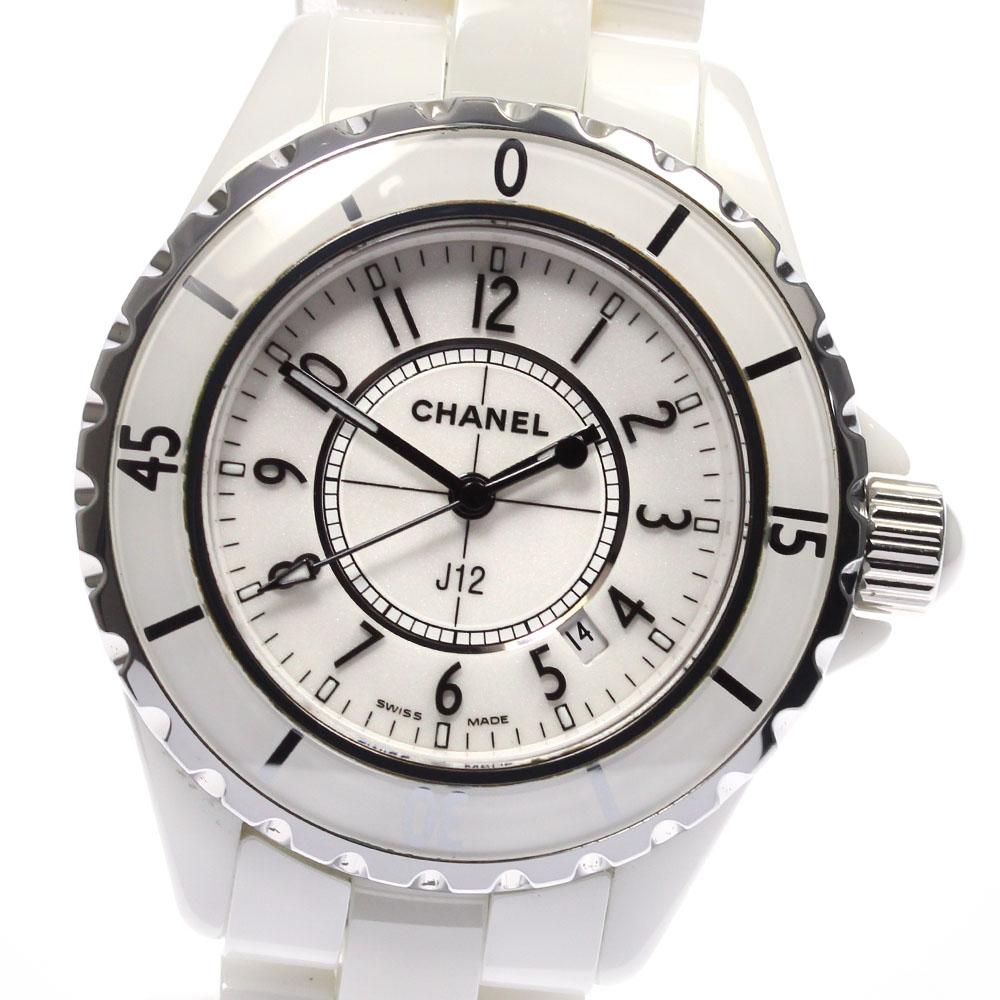 ブランド腕時計専門店CLOSER 15時までの決済で即日発送可能です 在庫数大幅増加中 早い者勝ち☆是非ご利用下さいませ 保証書 ☆良品 CHANEL シャネル 33ミリ レディース クォーツ セール 付与 H0968 白セラミック J12 中古