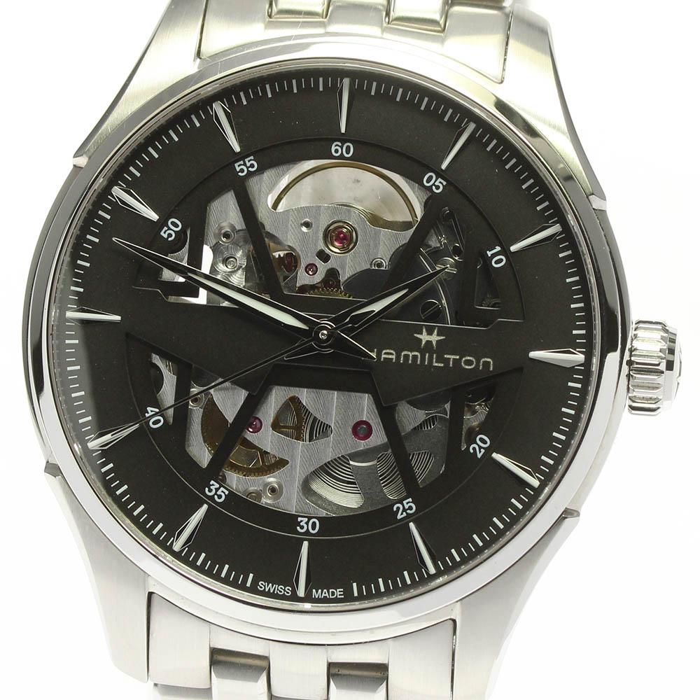 日本 ブランド腕時計専門店CLOSER 15時までの決済で即日発送可能です 在庫数大幅増加中 早い者勝ち☆是非ご利用下さいませ ☆良品 セール特価 保証書付き HAMILTON 中古 ジャズマスター スケルトン ハミルトン 自動巻き H425350 メンズ