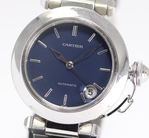 까르띠에 파샤 C W31014M7 네이비 자동감김 보이즈 손목시계