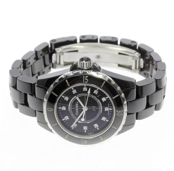 6f120a628bc2 H1625 黒セラミック J12 【CHANEL】シャネル 可動品 ケース付 12P レディース【170810】【18063】【中古】 クォーツ- レディース腕時計