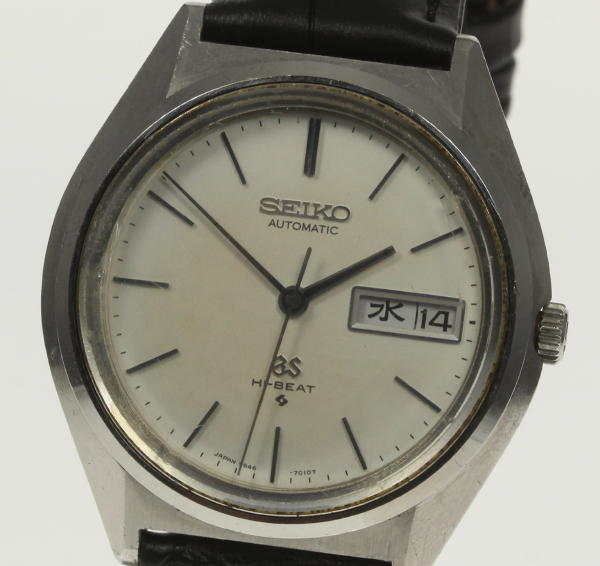 SEIKO SEIKO 5646-7011 men's grand SEIKO high beat D date Cal .5646A  self-winding watch outside a company building leather belt☆