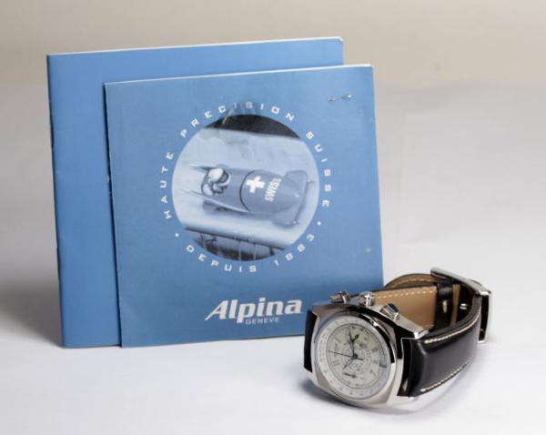 ALPINA heritage Kurono self-winding watch SS X leather men☆
