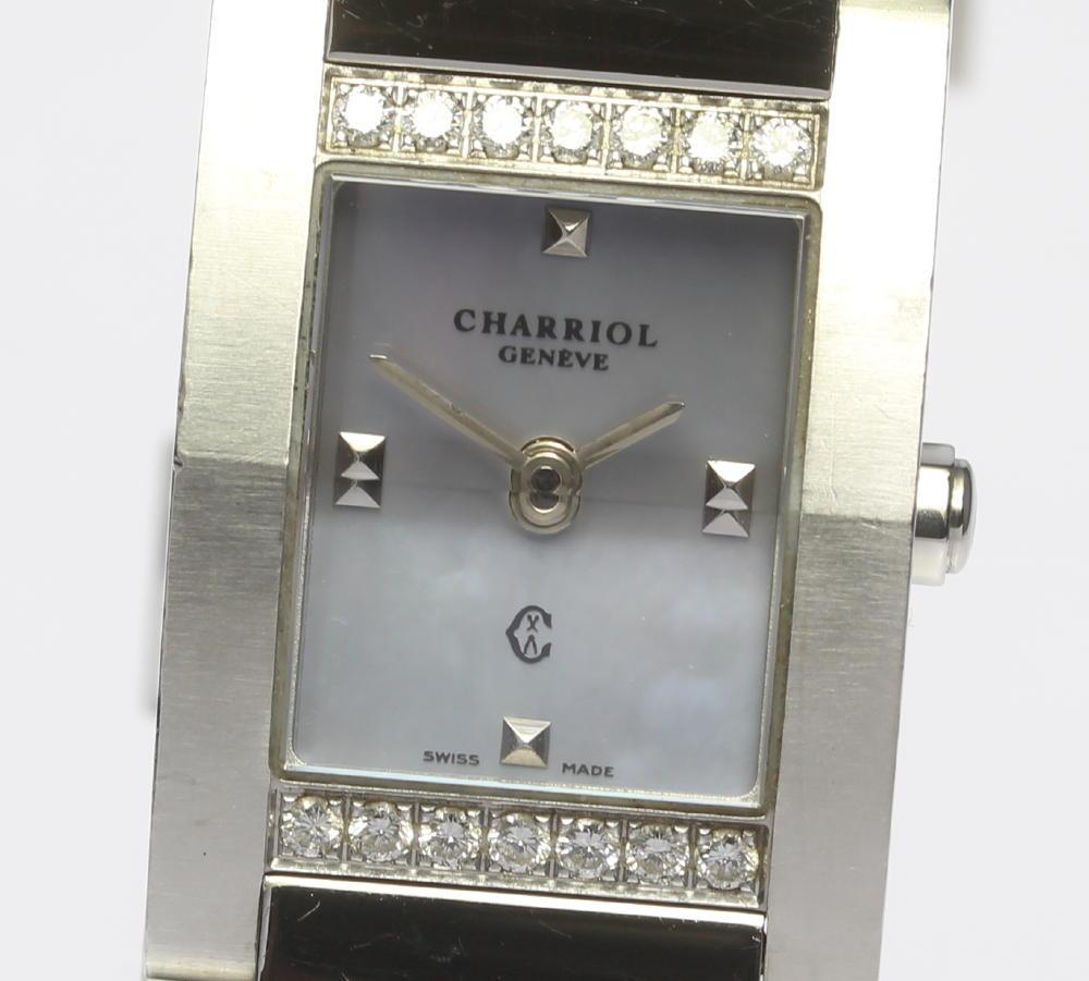 【CHARRIOL】シャリオール メジューヴ ダイヤベゼル QZ ブルーシェル レディース【180128】【中古】