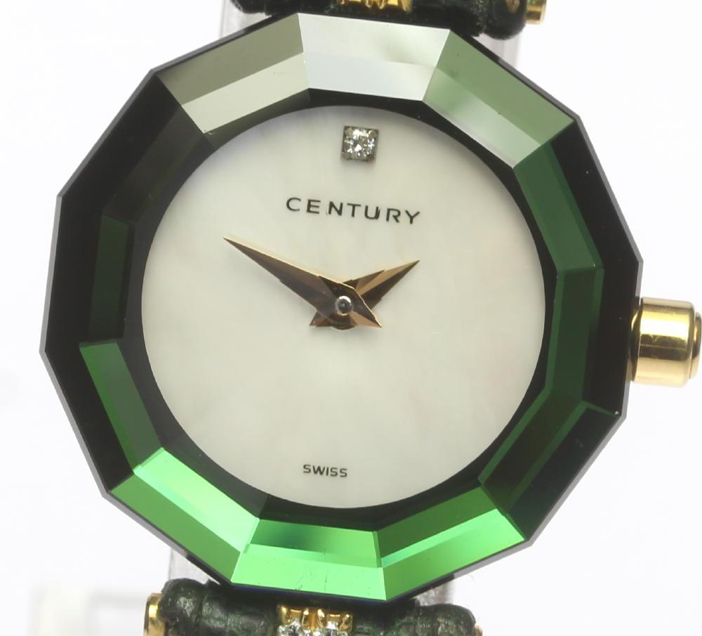 【CENTURY】センチュリー タイムジェム K18 クォーツ 1P ホワイトシェル文字盤 革ベルト レディース【180128】【18063】【中古】【event20】