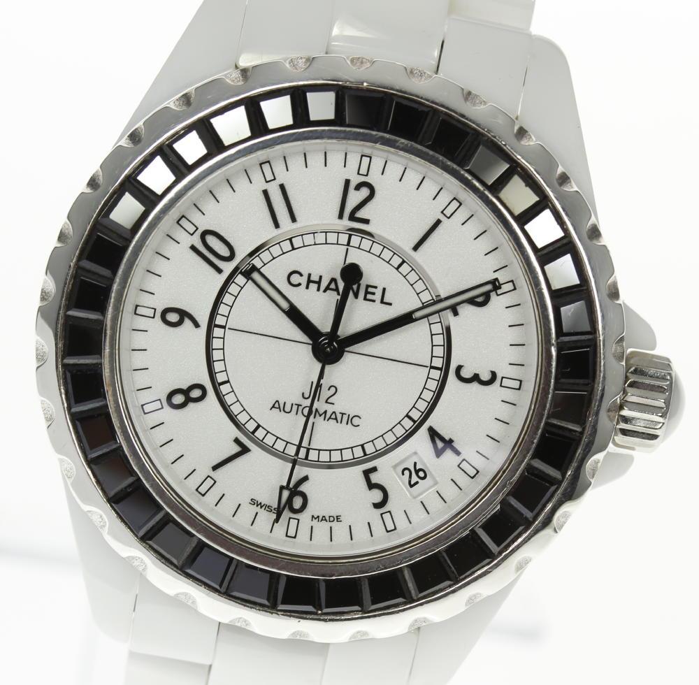 bccc0fb9aea5 【中古】 ホワイト 自動巻き 腕時計 セラミック メンズ ウォッチ シャネル デイト オートマ CHANEL J12 H0970 白セラ