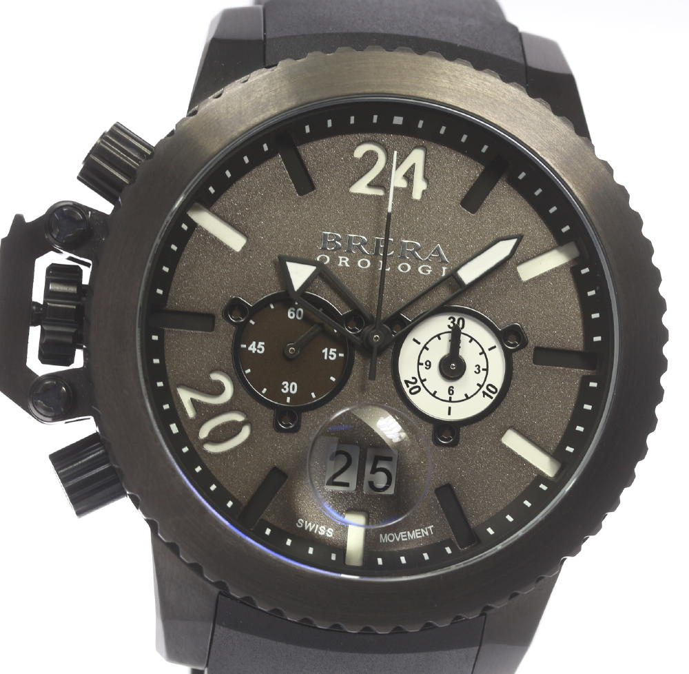 b258c301830 箱保 ☆ BRERA OROLOGI ブレラオロロジ MILITARE ミリターレ BRML2C48 chronograph men rubber  belt☆