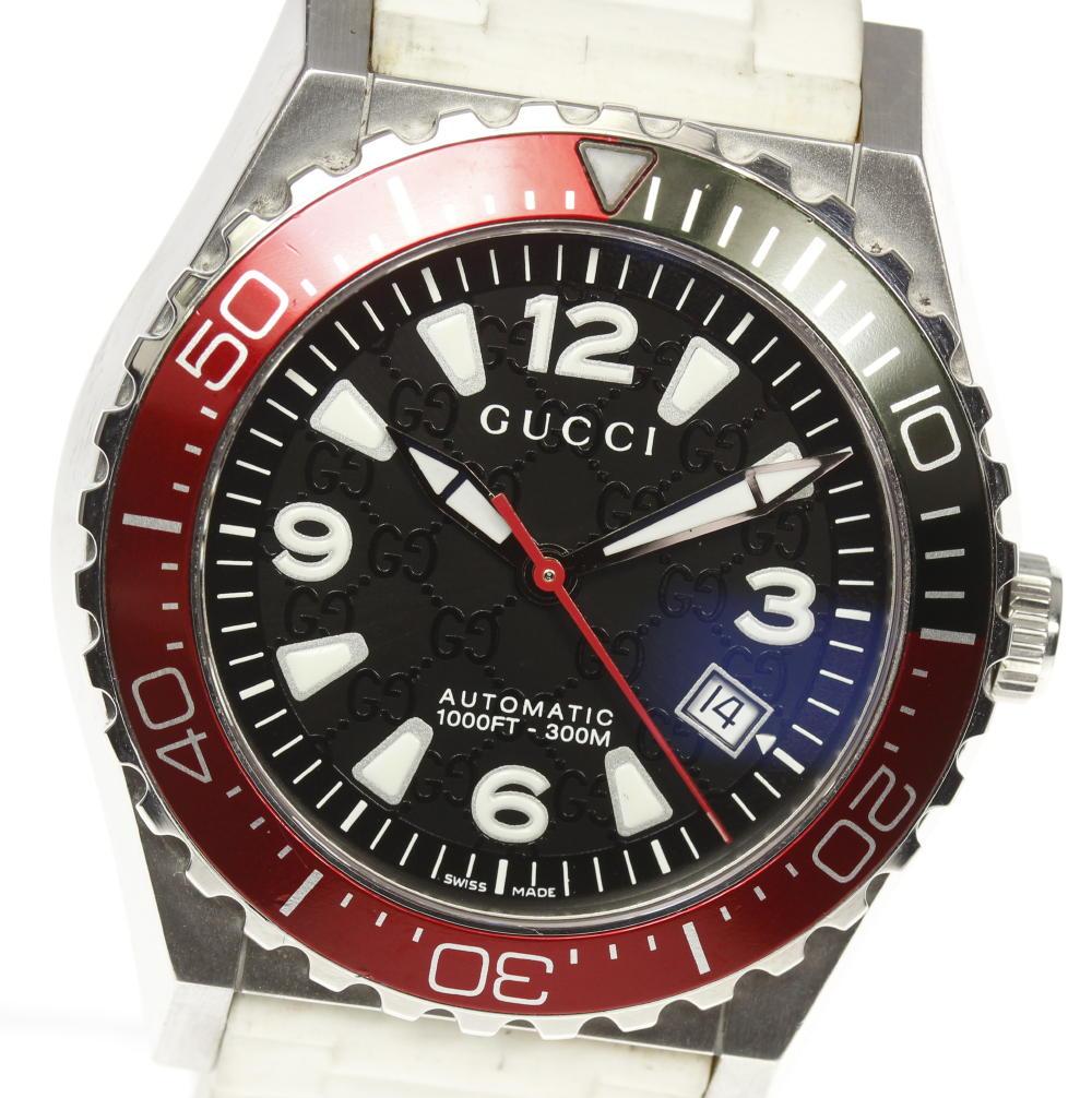 d20ea6a373e GUCCI Gucci 115.2 Pantheon diver date self-winding watch men rubber belt☆