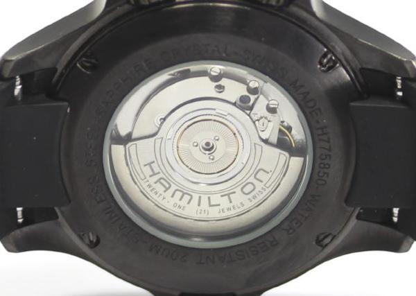 Hamilton khaki H775850 black PVD back スケ self-winding watch men☆