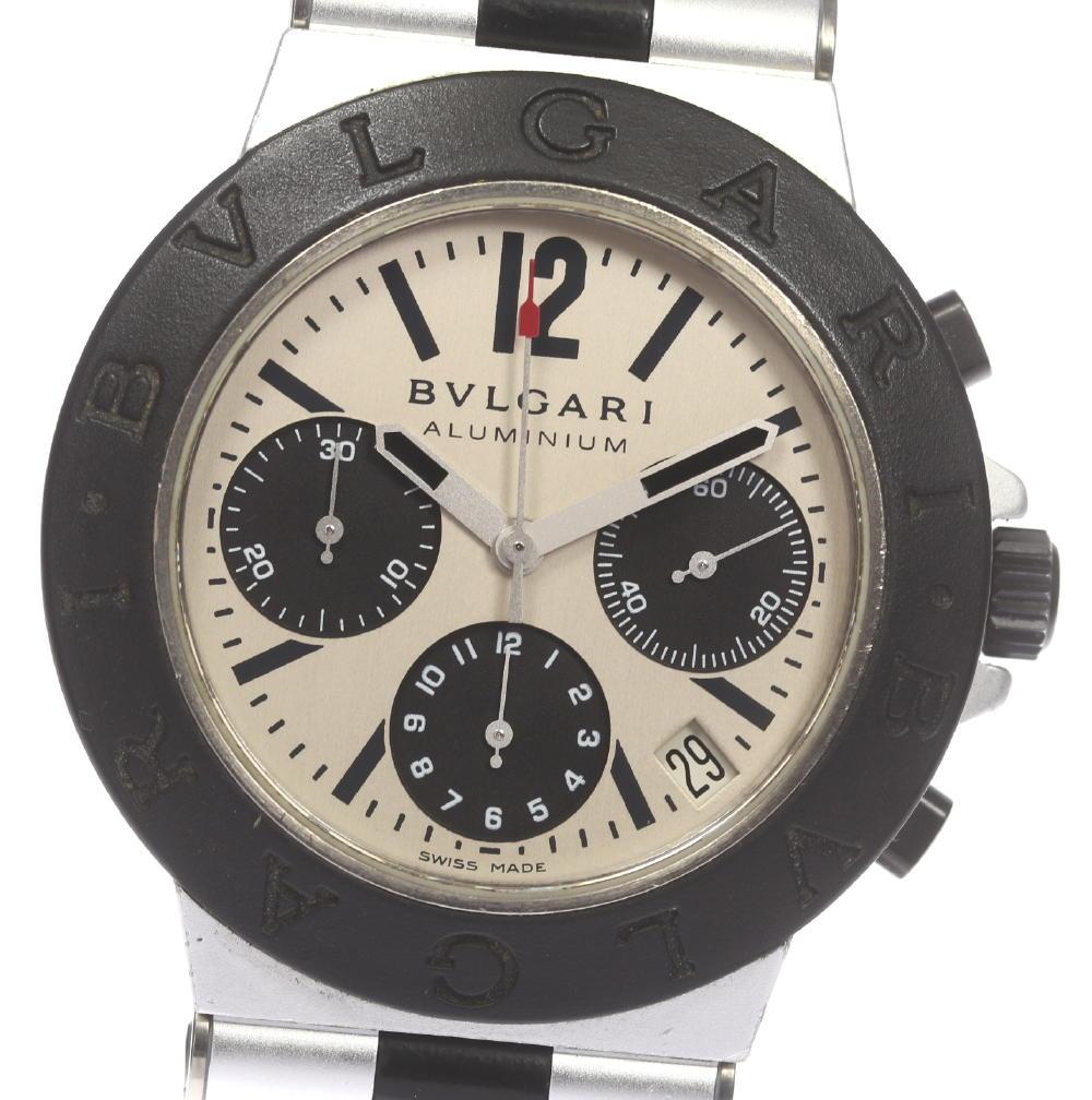 ※訳有品【BVLGARI】ブルガリ アルミニウム AC38TA クロノグラフ 自動巻き ラバーベルト メンズ【180329】【18052】【中古】