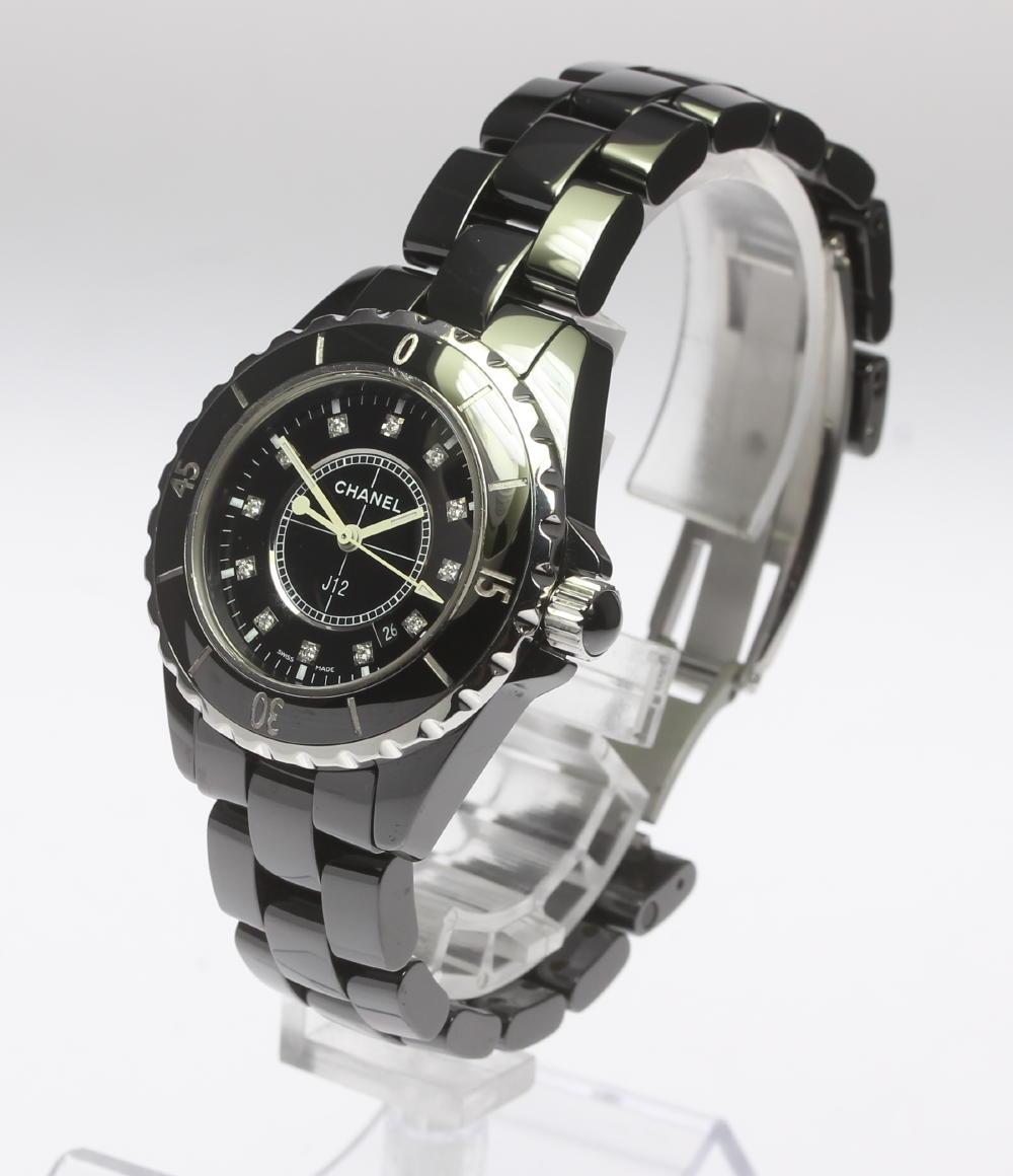 b2f47ca3fd8b 【CHANEL】シャネル J12 H1625 33ミリ 黒セラミック 12Pダイヤ クォーツ レディース腕時計のご紹介です!  この機会に是非ご検討ください。