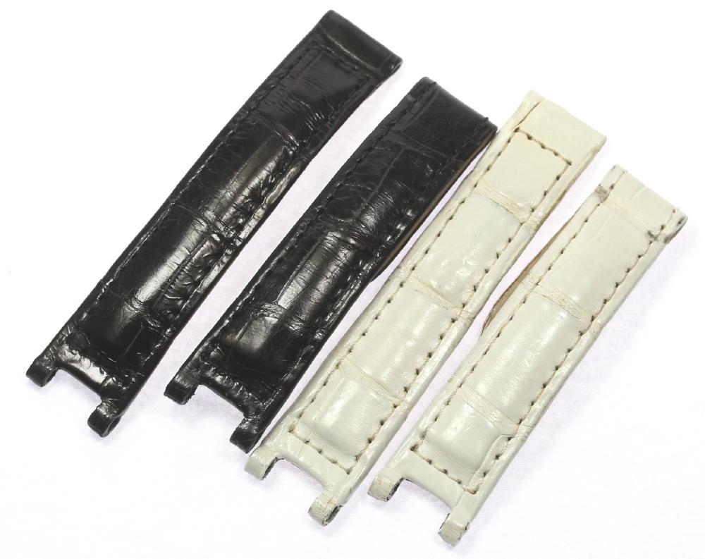 【CARTIER】カルティエ ラグ幅 15mm ホワイト×ブラック 腕時計革ベルト2本セット★【180329】【中古】