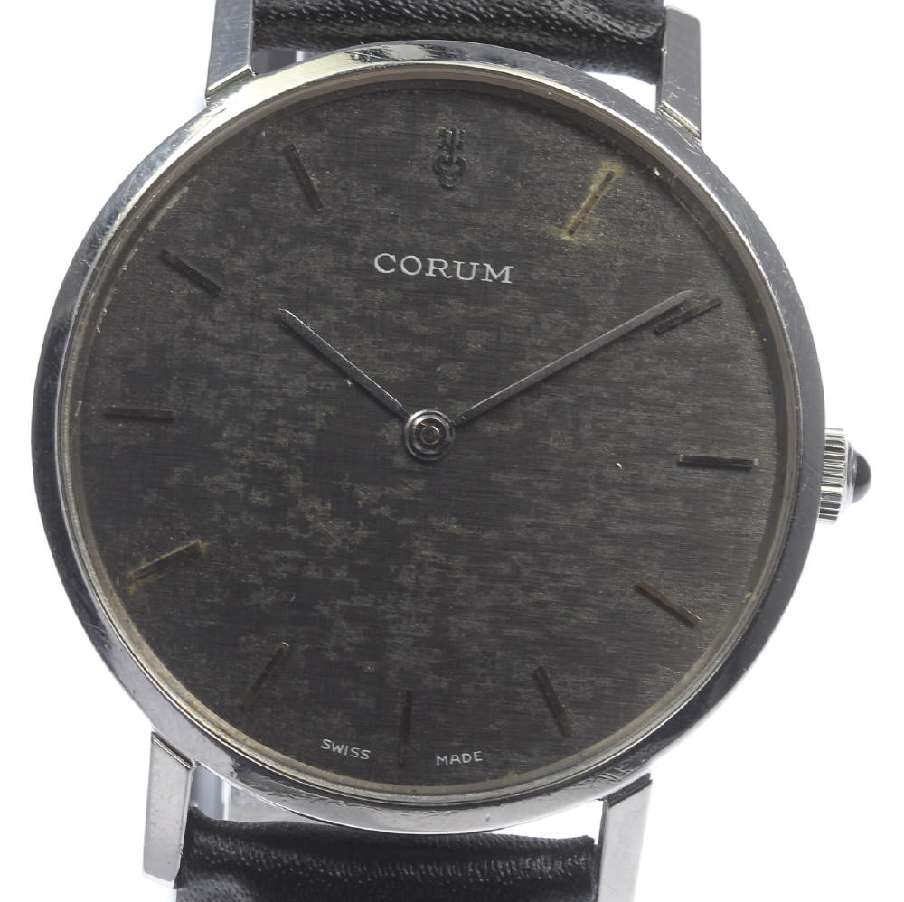 【CORUM】コルム ラウンド cal,7001 社外革ベルト 手巻き メンズ【180518】【中古】【event】