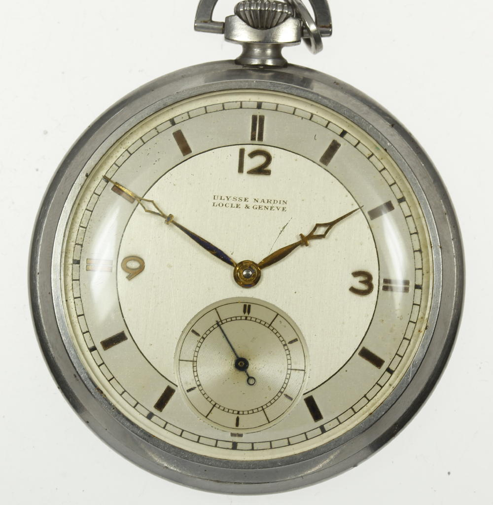 【ULYSSE NARDIN】ユリスナルダン アンティーク 手巻き スモセコ 47ミリ 懐中時計【180518】【中古】
