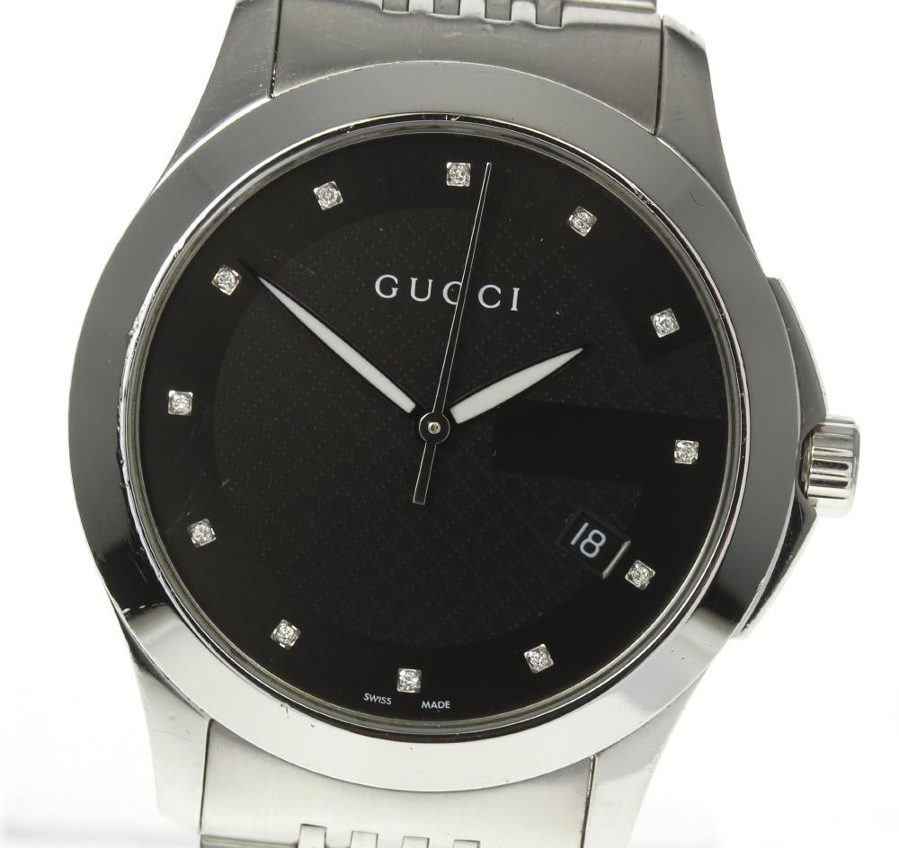 【GUCCI】グッチ Gタイムレス 126.4 12Pダイヤ ブラック文字盤 クォーツ メンズ【中古】