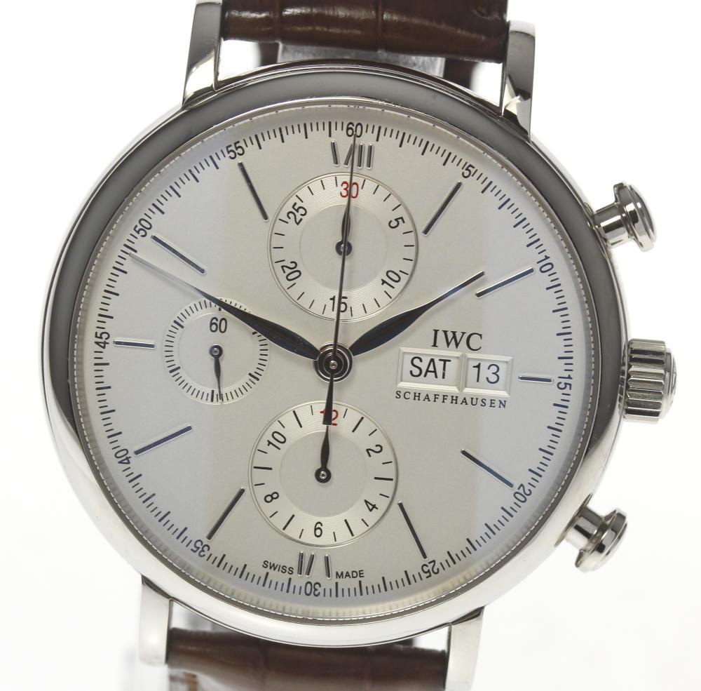 quality design 9c124 26578 箱保 ☆ IWC port fino chronograph men IW391007 self-winding watch D date  genuine leather belt☆