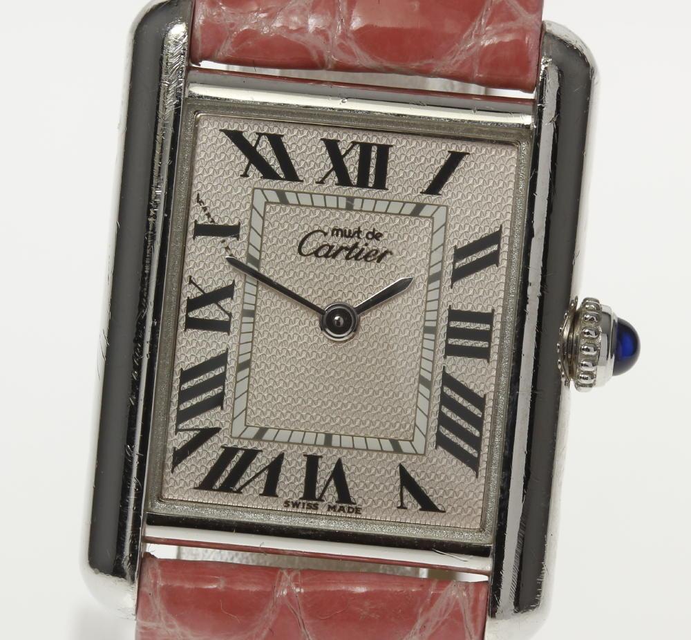 【Cartier】 カルティエ マストタンク シルバー925 Dバックル 社外革ベルト クォーツ レディース【180824】【中古】