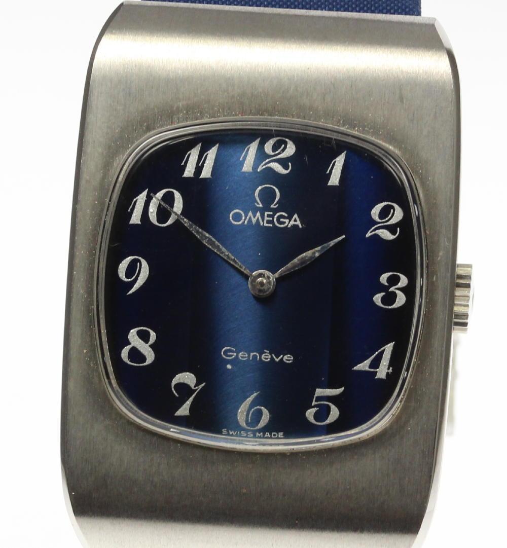 【OMEGA】オメガ ジュネーブ cal,625 手巻き ブルー文字盤 純正革ベルト レディース【180914】