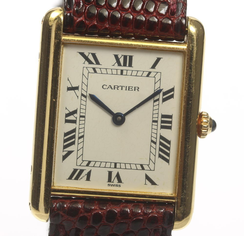 Cartier カルティエ タンクルイ K18YG/革ベルト クォーツ レディース★【180914】【中古】