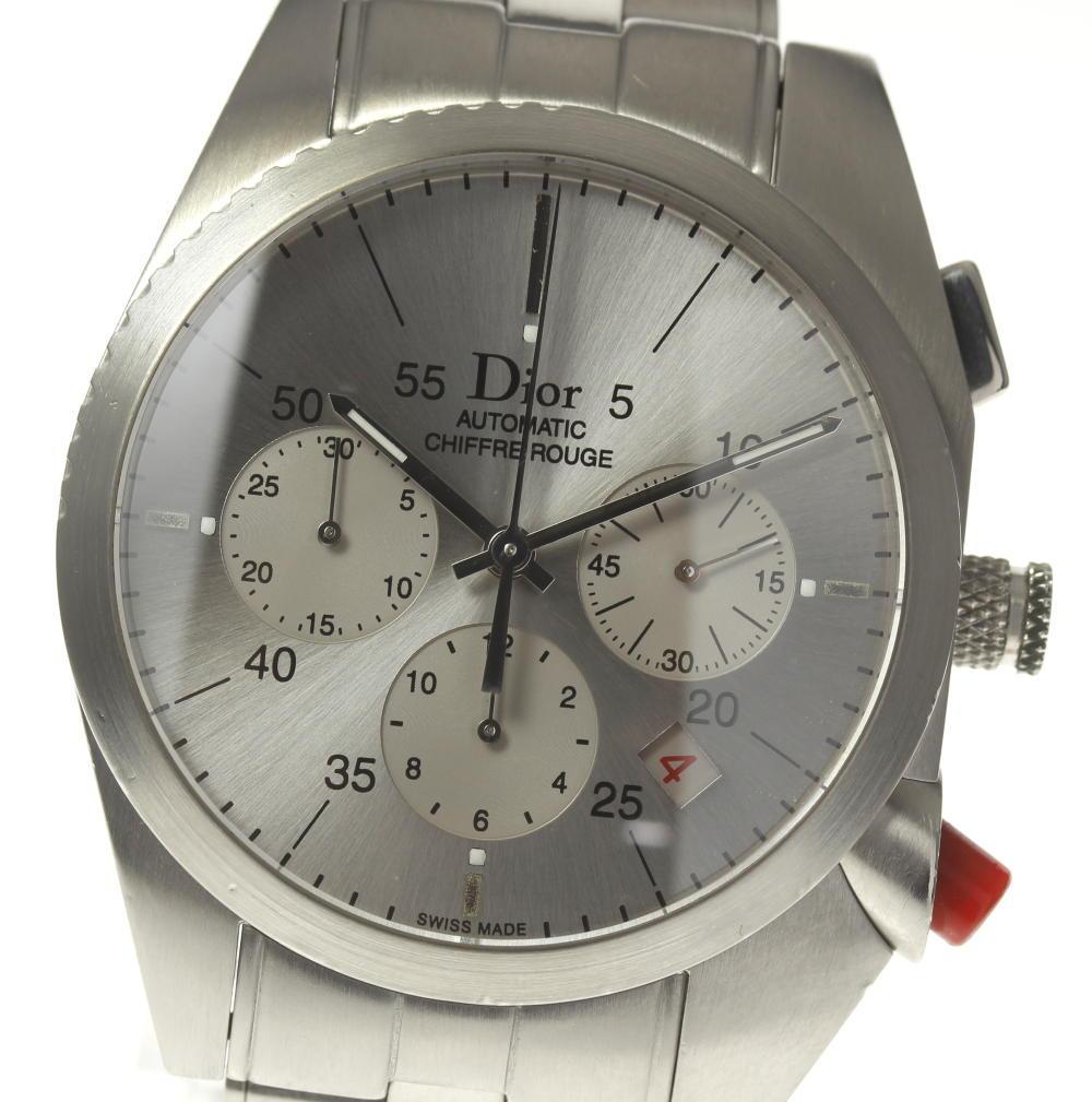 ★良品★【Dior】ディオール シフルルージュ CD084611 自動巻き クロノグラフ メンズ【180914】
