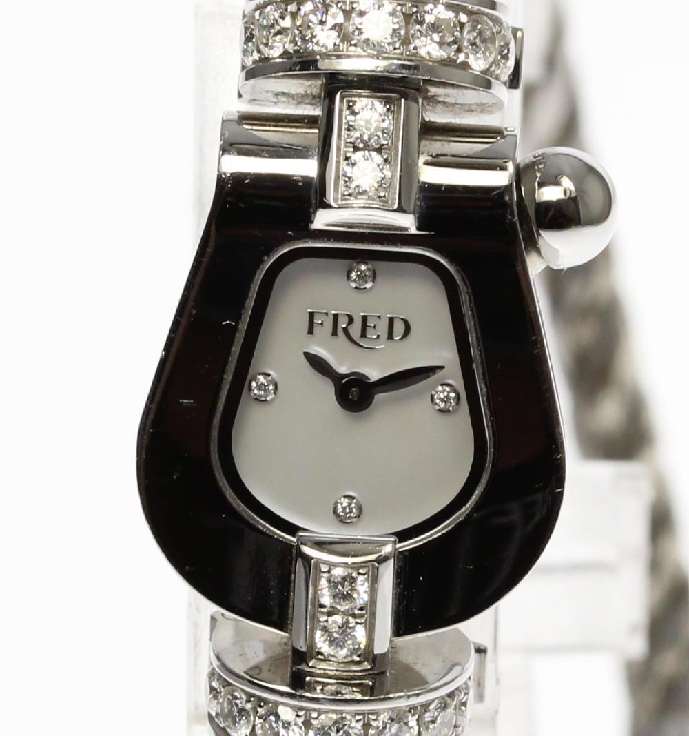 【FRED】フレッド フォース10 FD070111 ダイヤ シェル文字盤 クォーツ レディース【中古】【181004】
